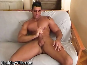 Chris N jerking his nice firm gay cock