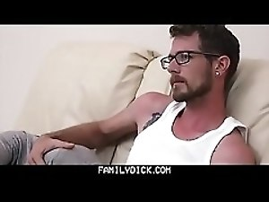 FamilyDick - Dirty daddy jerks off next to step son