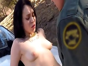 British cop threesome and brunette Russian Amateur Takes it Like a Pro