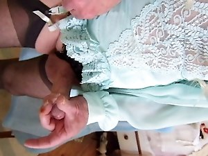 CD cumming in blue teddy, blouse and crotchless panties