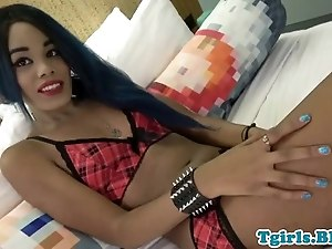 Cute ebony tgirl masturbating in solo action
