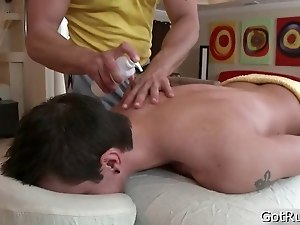 Dude gets his huge pierced dick massaged 1