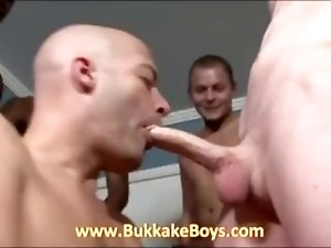 Bald hunk sucks dicks and drinks cum